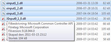 XInputDLL File versions